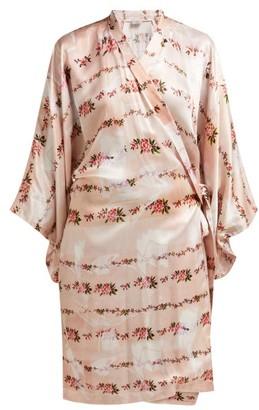 Preen by Thornton Bregazzi Floral Print Satin Robe - Womens - Pink