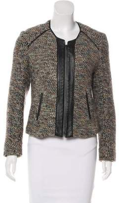 Burning Torch Leather-Trimmed Tweed Jacket