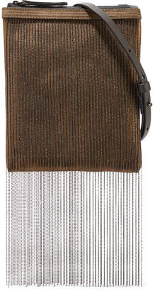Brunello Cucinelli Beaded Metallic Leather Shoulder Bag - Bronze