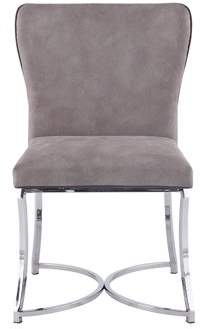 Bella Vita Autumn Contemporary Polished Stainless Steel Curved Back Chair w/ Grey Upholstery