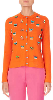 Carolina Herrera Animal-Embroidered Cashmere-Silk Cardigan