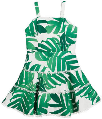 Bardot Junior Kiera Palm Leaf Print Sleeveless Sun Dress, Size 8-16