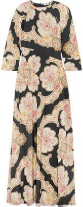 Vilshenko Annabelle Printed Silk-twill Maxi Dress - Black