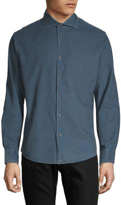 Black Brown 1826 Slim-Fit Long-Sleeve Button-Down Shirt