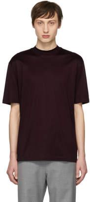 Lanvin Burgundy High Collar T-Shirt