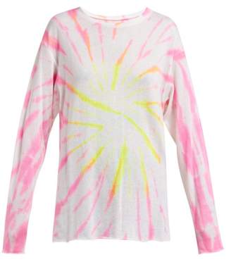 The Elder Statesman Cyclone Tie Dyed Cashmere Blend T Shirt - Womens - Pink Multi
