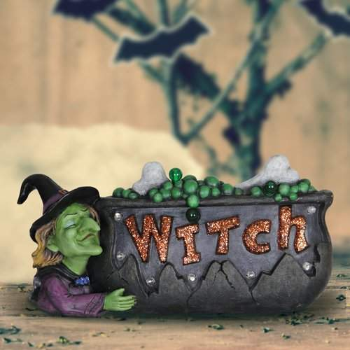 The Holiday Aisle Witch Cauldron Marquee Oversized Figurine with Timer