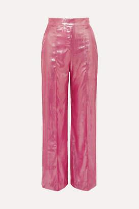 Michael Lo Sordo Marina Metallic Velvet Wide-leg Pants - Pink