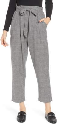 Angie High Rise Paperbag Waist Glen Plaid Pants