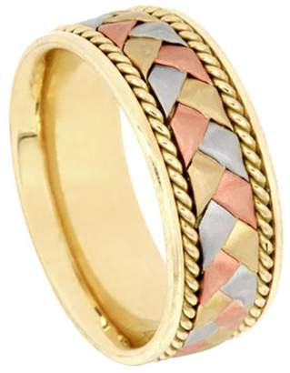 American Set Co. Men's Tri-color 14k White Yellow Rose Gold Braided 8.5mm Comfort Fit Wedding Band Ring size 9.5