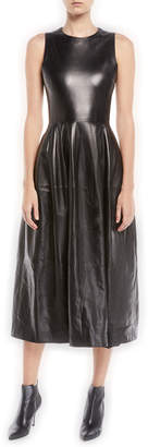 Rosetta Getty Sleeveless Fit-and-Flare Lambskin Leather Midi Dress