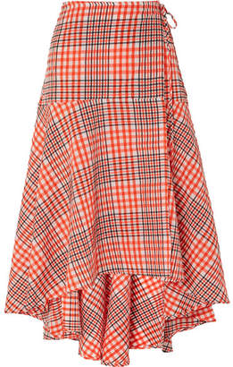 Ganni Charron Checked Cotton-blend Seersucker Wrap Skirt - Tomato red