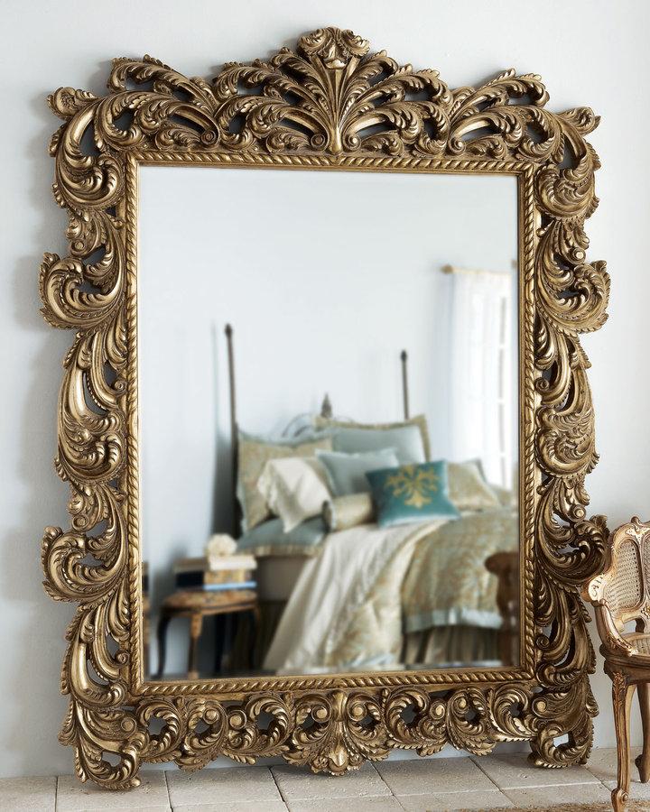 Antique Scroll Floor Mirror