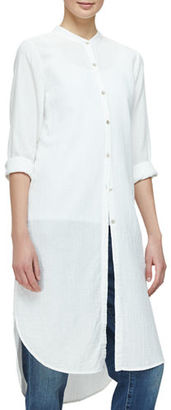 Eileen Fisher Mandarin-Collar Calf-Length Shirt, Black $278 thestylecure.com