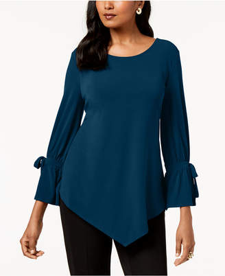 Alfani Ruffled-Sleeve Pointed-Hem Blouse