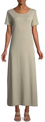 Joan Vass Short-Sleeve A-line Long Dress, Plus Size