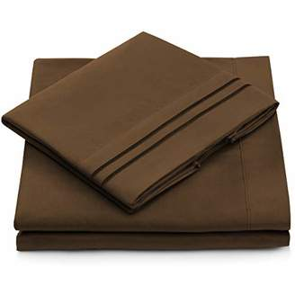 +Hotel by K-bros&Co Queen Size Bed Sheets - Chocolate Luxury Sheet Set - Deep Pocket - Super Soft Hotel Bedding - Cool & Wrinkle Free - 1 Fitted