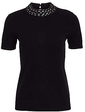 Saks Fifth Avenue Women's Embellished Collar Cashmere Top