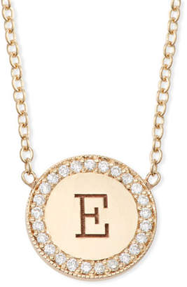 Chicco Zoe 14k Personalized Initial Disc Pendant Necklace w/ Diamonds