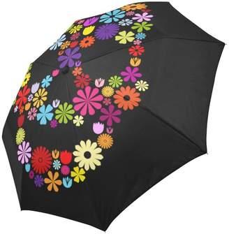 ADEDIY Fashion Custom ADE Travel Umbrella Art Skull in Flowers Auto-Foldable Umbrella Rainy Sunny Gift