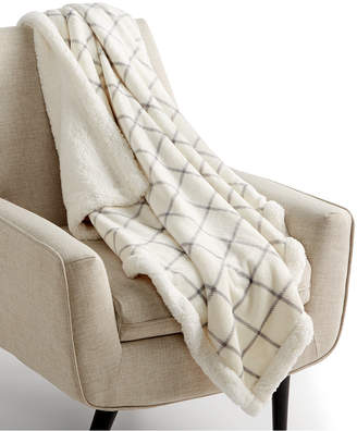 """Martha Stewart Collection Windowpane Reversible 50"""" x 60"""" Classic Sherpa Throw, Created for Macy's Bedding"""