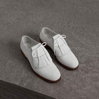 Burberry Lace-up Kiltie Fringe Suede Loafers