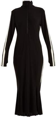 Norma Kamali High-neck side-striped dress
