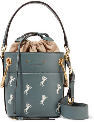 Chloé Roy Mini Embroidered Leather Bucket Bag - Gray green