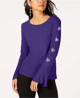 INC International Concepts I.n.c. Petite Embellished Sleeve Top