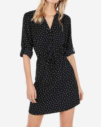 Express Printed Tie Waist Long Sleeve Shirt Dress
