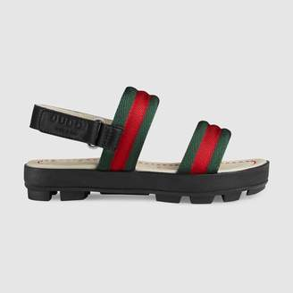 Gucci (グッチ) - 〔チルドレンズ〕レザー&ウェブ サンダル