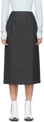 Calvin Klein Grey Wool Checked Skirt