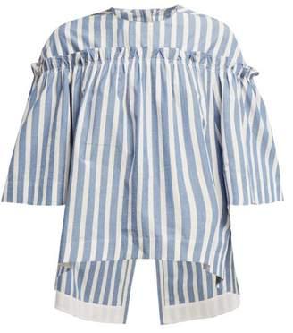 Golden Goose Ruffle Trimmed Striped Cotton And Silk Blend Top - Womens - Blue Stripe