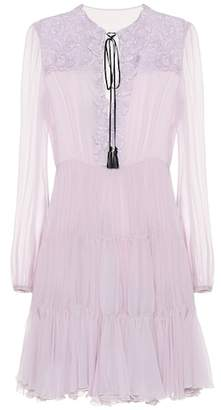 Giambattista Valli Long sleeved cotton-blend minidress