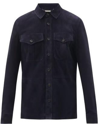 Ralph Lauren Purple Label Barron Suede Overshirt - Mens - Navy