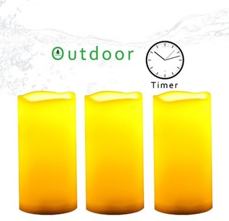 """Candle Choice 3 Piece Plastic Outdoor Battery Operated Flameless LED Pillar Candles w/ Timer 3"""" diameter 6"""" height"""