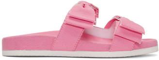 Joshua Sanders Pink Denim Double Bow Slides