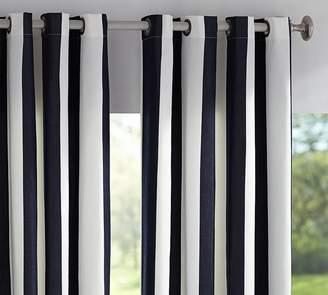 Pottery Barn Sunbrella®; Awning Stripe Indoor/Outdoor Grommet Drape - Navy