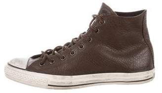 John Varvatos Converse by Distressed Leather High-Top Sneakers
