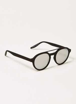 Topman Black Round Mirrored Sunglasses