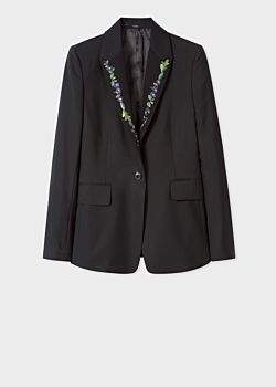 Paul Smith Women's Slim-Fit Black Wool-Mohair Blazer With Lapel Embroidery