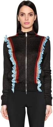 Marco De Vincenzo Ruffled Lurex Zip Up Sweater