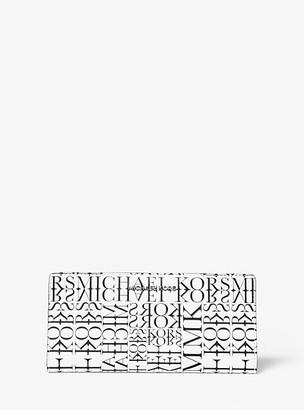 Michael Kors Large Newsprint Logo Leather Slim Wallet