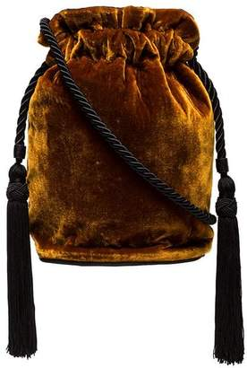 At Farfetch Tula Hunting Season Gold Velvet Tassel Pouch