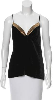 Dries Van Noten Metallic-Trimmed Velvet Top