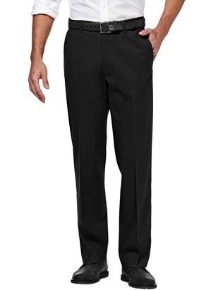 Haggar Mens Premium No-Iron Khaki Stretch Classic-Fit Flat-Front Expandable Waist Pants