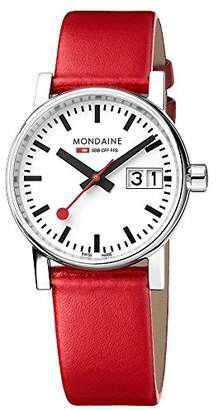 Mondaine Women's evo2 30mm sapphire Big Date Watch with St. Steel polished Case white Dial and red leather Strap MSE.30210.LC