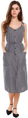 ACEVOG Women Vintage Style Striped Sundress with Patch Pockets