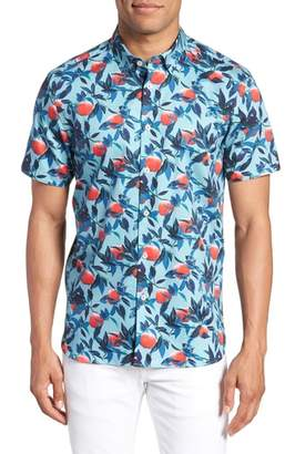 Ted Baker Trim Fit Apple Print Short Sleeve Sport Shirt