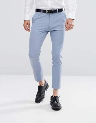 Asos Design Super Skinny Cropped Smart Trousers Dusky Blue